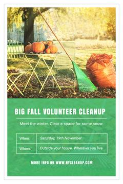 Volunteer Cleanup Announcement with Autumn Garden and Pumpkins