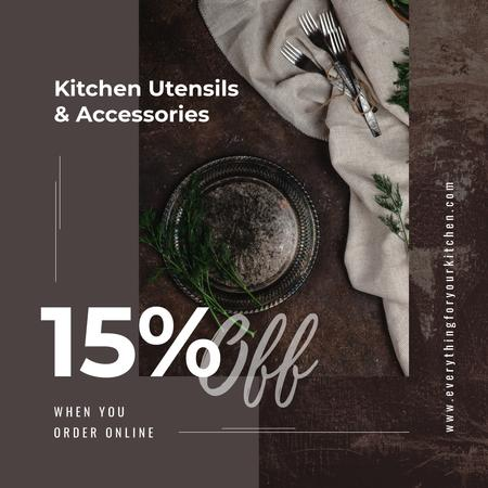 Utensils Sale Kitchen Rustic Tableware Instagram ADデザインテンプレート