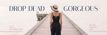 Fashion Ad Woman in Black Clothes at Pier