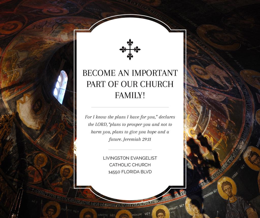 Plantilla de diseño de Church Invitation Old Cathedral View Facebook