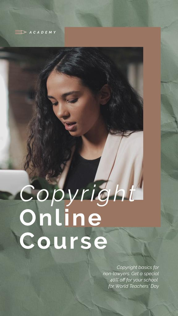 Online Courses Ad Woman Typing on Laptop — Создать дизайн