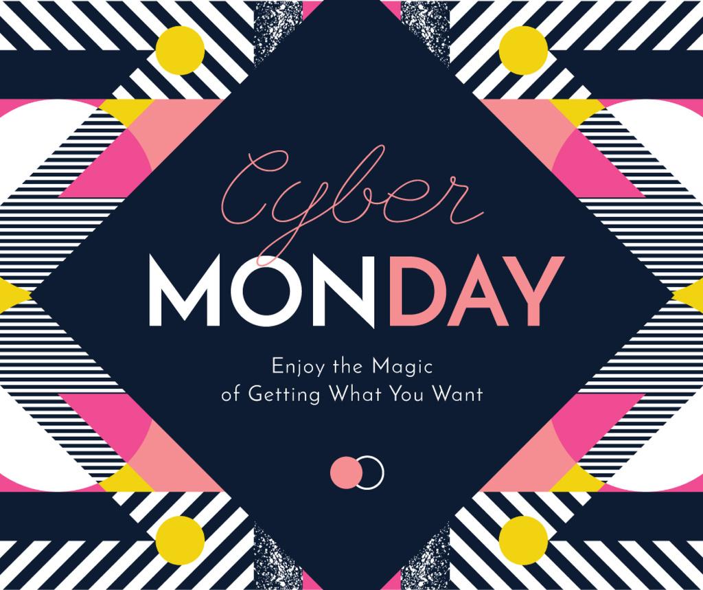 Cyber Monday sale on geometric pattern Facebook Modelo de Design