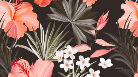 Tropical Flowers pattern Zoom Background – шаблон для дизайну