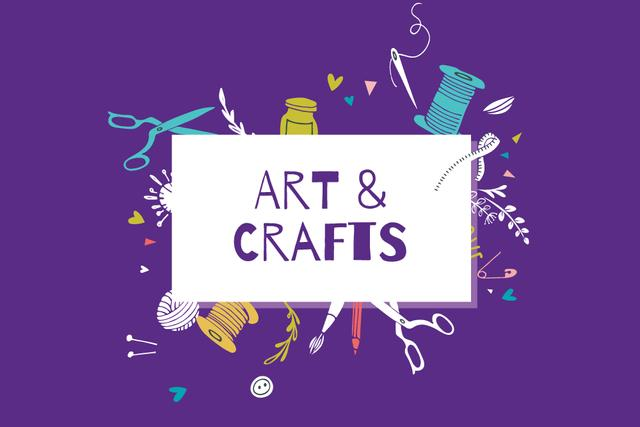 Arts and Crafts Shop ad with colorful equipment Label Design Template