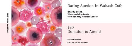 Dating Auction announcement on pink watercolor Flowers Tumblr Modelo de Design
