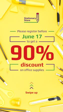 Stationery Store Ad with Office Supplies in Yellow Instagram Story – шаблон для дизайна