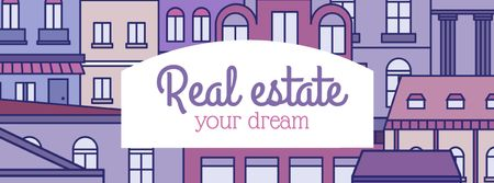 Real Estate Ad with Town in pink Facebook coverデザインテンプレート