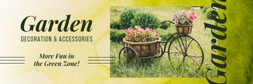 Decorative Blooming Flowers in Garden | Email Header Template