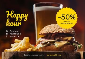 Special Happy Hour Offer with Burger and beer
