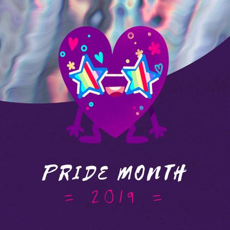 Pride Month with Heart in rainbow glasses Animated Post Modelo de Design