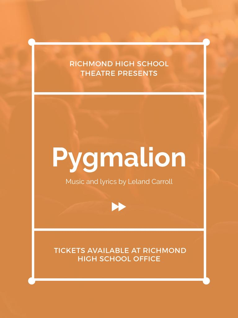 Pygmalion play poster with audience in theater — Maak een ontwerp