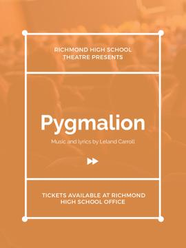 Pygmalion play poster with audience in theater