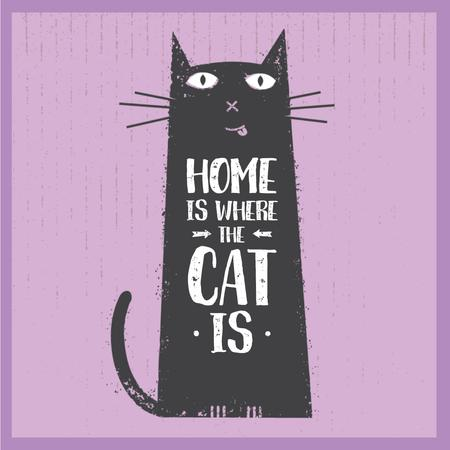 Funny black cat on Purple Animated Post – шаблон для дизайну
