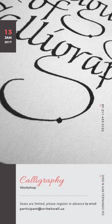 Ontwerpsjabloon van Graphic van Calligraphy Workshop Announcement Decorative Letters