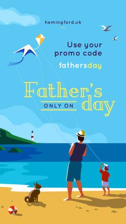 Template di design Father and son fishing together Instagram Story