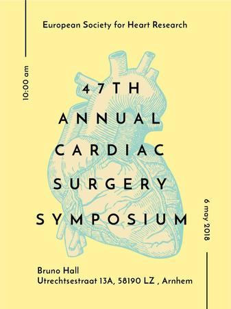 Plantilla de diseño de Cardiac Surgery Heart sketch Poster US