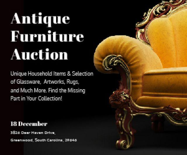 Plantilla de diseño de Antique Furniture Auction Medium Rectangle
