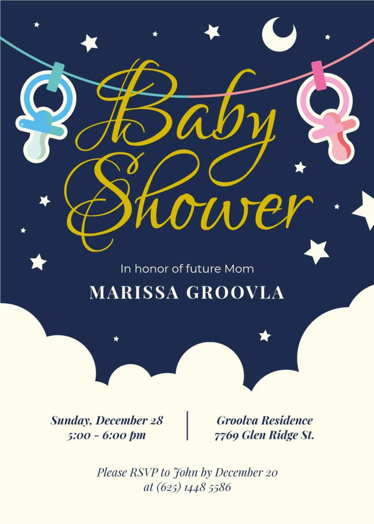 Baby Shower Invitation Pacifiers on Garland — Створити дизайн