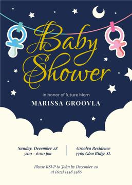 Baby Shower Invitation Pacifiers on Garland