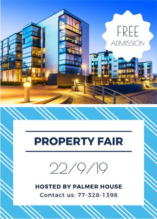 Property fair ad with glass Buildings Invitation Design Template