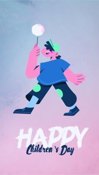 Children's Day Greeting Happy Kid with Candy