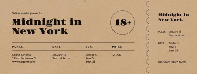 Designvorlage New Movie Announcement für Ticket
