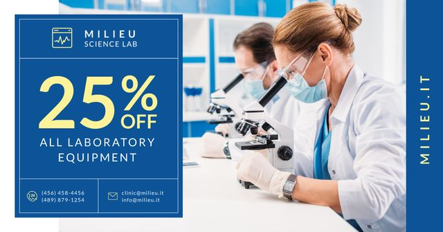 Lab Equipment Offer Scientists Working with Microscopes Facebook AD Modelo de Design