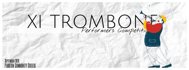 Musician playing trombone Facebook Video cover Modelo de Design