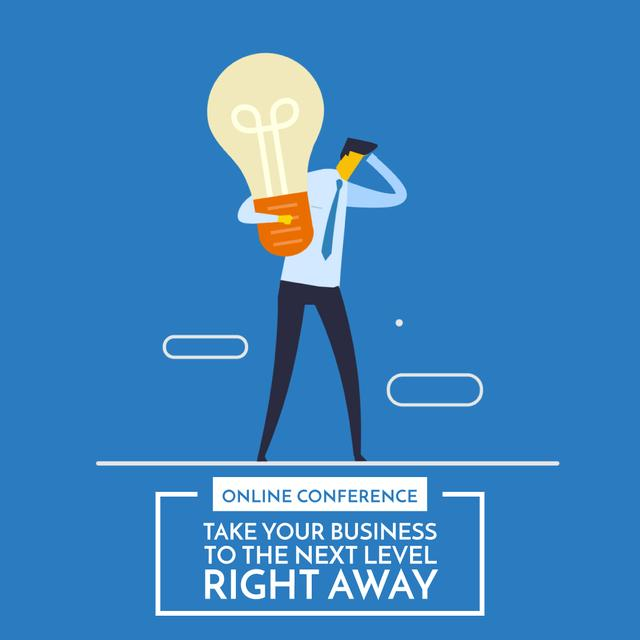 Businessman holding light bulb Animated Post Design Template