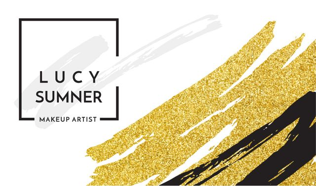Plantilla de diseño de Makeup Artist Ad with Golden Paint Smudges Business card