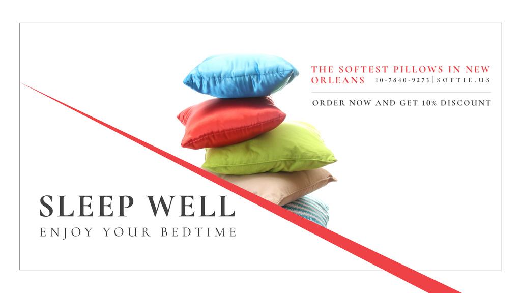 Home Textiles Ad with Colorful Pillows — Modelo de projeto