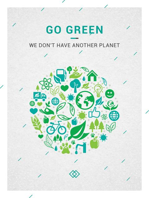 Template di design Ecology Concept with green Nature icons Poster US