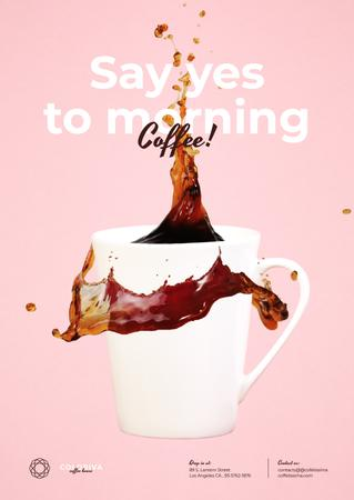 Cup of Morning Coffee Poster Modelo de Design
