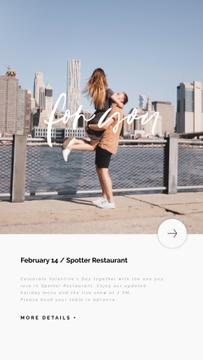 Valentine's Day Celebration Hugging Couple in City | Vertical Video Template