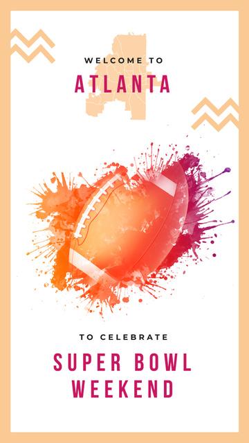 Ontwerpsjabloon van Instagram Story van Super Bowl with Brown rugby ball