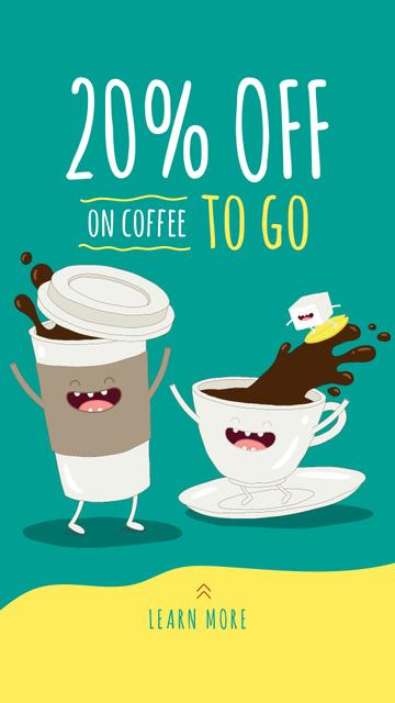 Designvorlage Happy coffee to-go and ceramic cup für Instagram Story