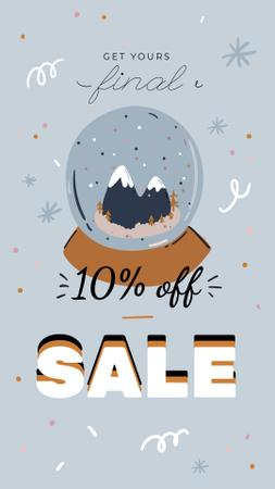 Plantilla de diseño de Winter Sale with Snow Globe Instagram Story