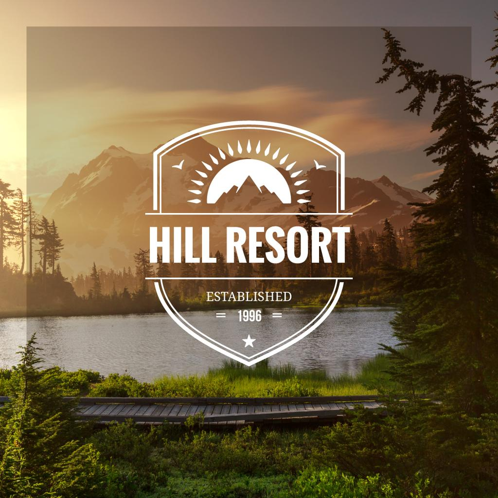 Resort ad with Mountains Lake View — Modelo de projeto