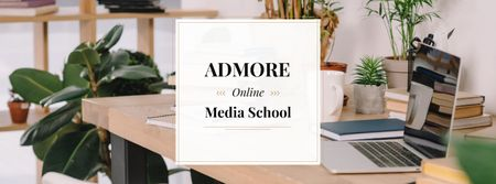 Online media school Offer Facebook cover Modelo de Design