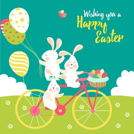 Modèle de visuel Cartoon Easter bunnies with colored eggs - Animated Post