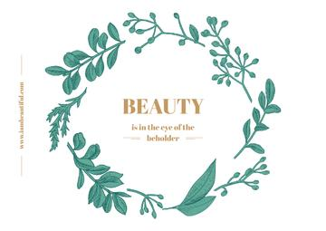 Beauty Quote with Green Floral Wreath Frame
