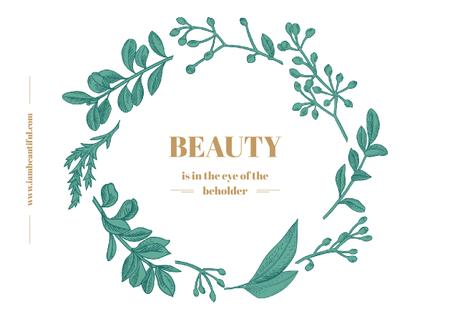 Beauty Quote with Green Floral Wreath Frame Postcard Design Template