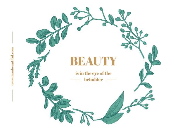 Beauty Quote with Green Floral Wreath Frame Postcard Tasarım Şablonu