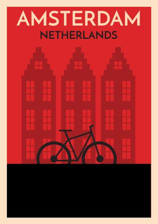 Amsterdam red illustration with bicycle Posterデザインテンプレート