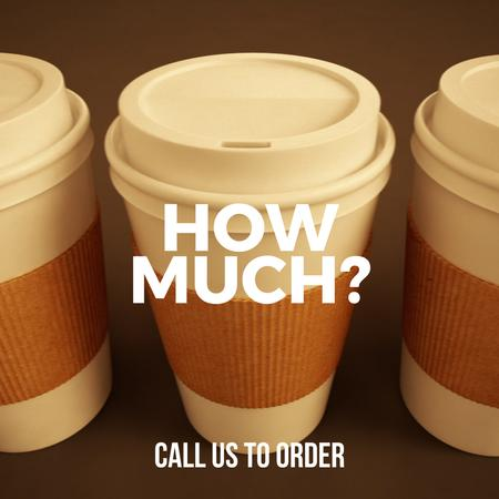 Cups with coffee-to-go in row Animated Post Modelo de Design