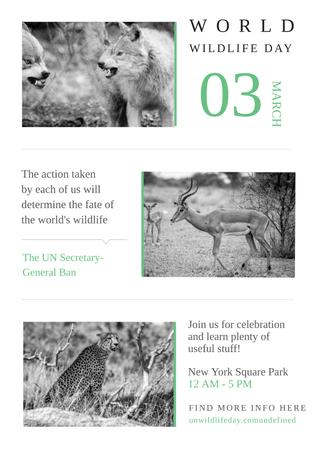 World wildlife day with Wild Animals Poster – шаблон для дизайна