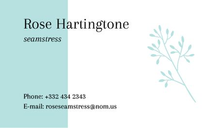 Seamstress Contacts with Tender Blue Plant Business card Design Template