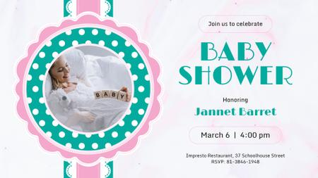Plantilla de diseño de Baby Shower invitation with Happy Pregnant Woman FB event cover