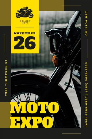 Ontwerpsjabloon van Pinterest van Moto Expo Announcement with Motorcycle in Black