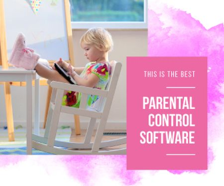Plantilla de diseño de Parental Control Software Ad Girl Using Tablet Large Rectangle